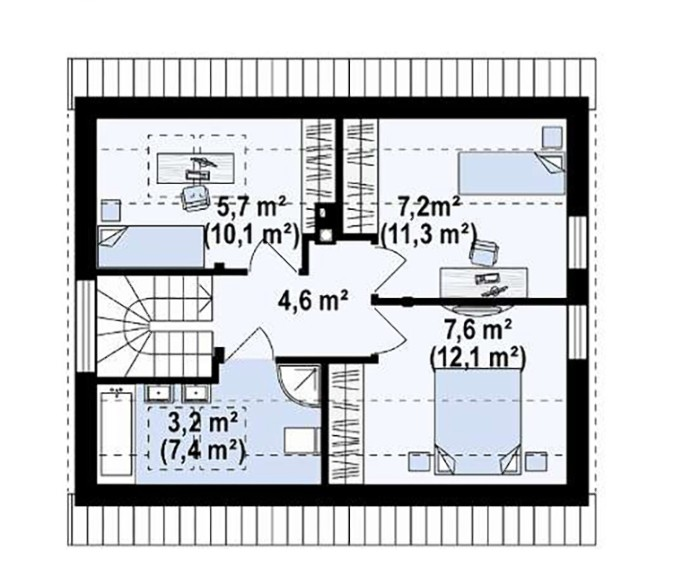 Дом из пеноблока 7х8 с мансардой 112м2