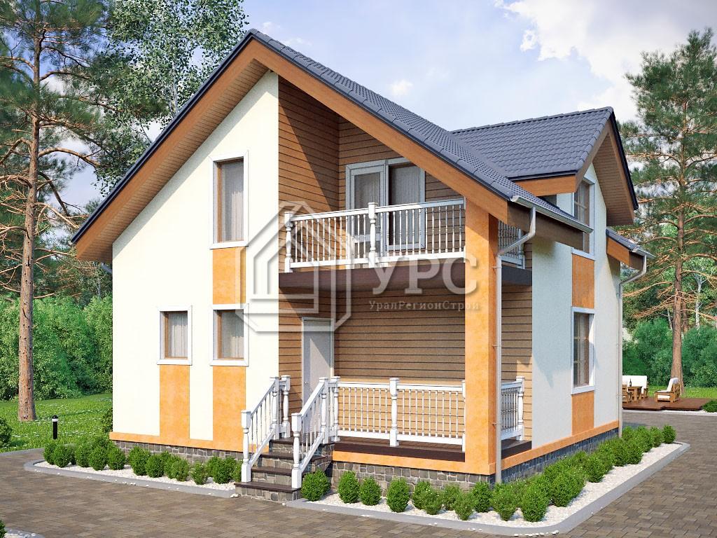 Дом из газоблока К-025 два этажа 109 м2
