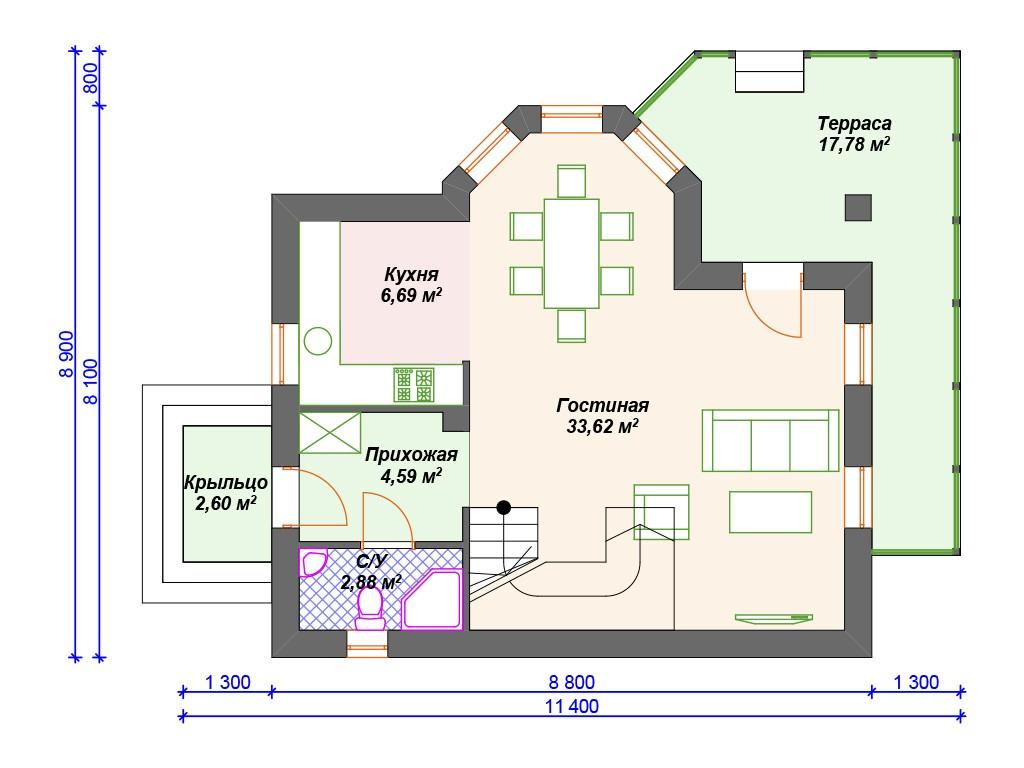 Дом из керамзитобетона К-266 два этажа 112 м2