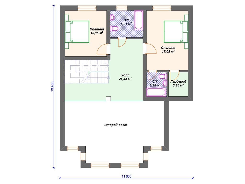Дом из газоблока К-252 два этажа 217 м2