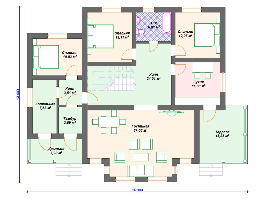 Дом из керамзитобетона К-252 два этажа 217 м2