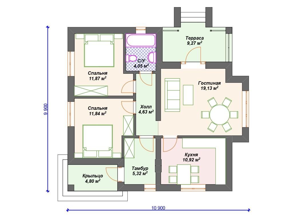 Дом из газоблока К-250 один этаж 82 м2