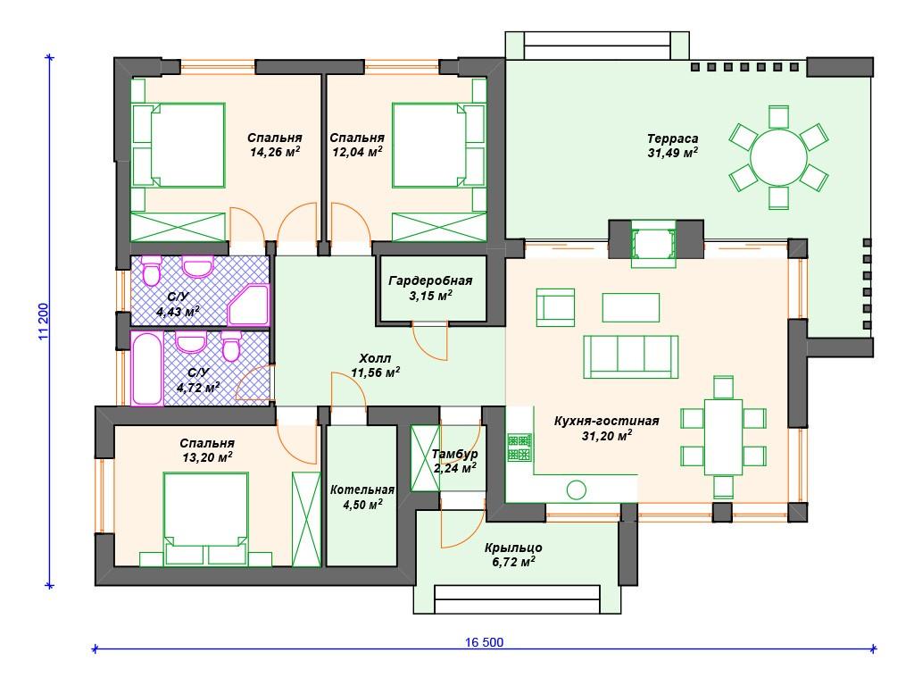 Дом из газоблока К-191 один этаж 140 м2