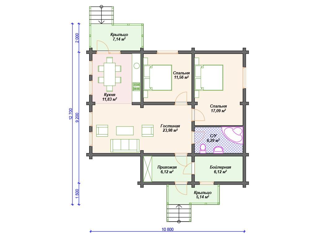Дом из бруса ДС-116 один этаж 95 м2