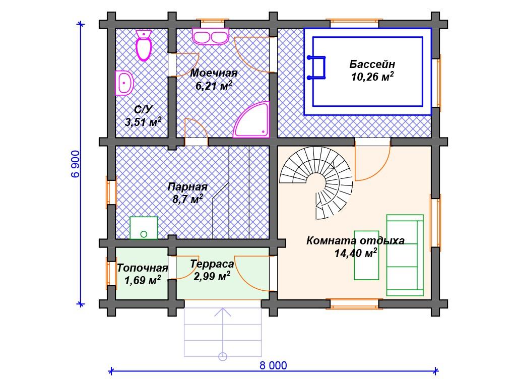 Дом из бруса ДС-106 два этажа 93 м2