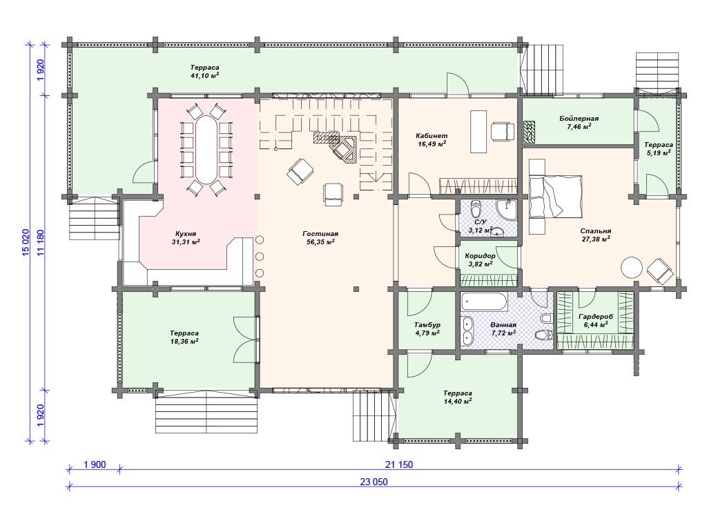 Дом из бруса ДС-094 два этажа 312м2