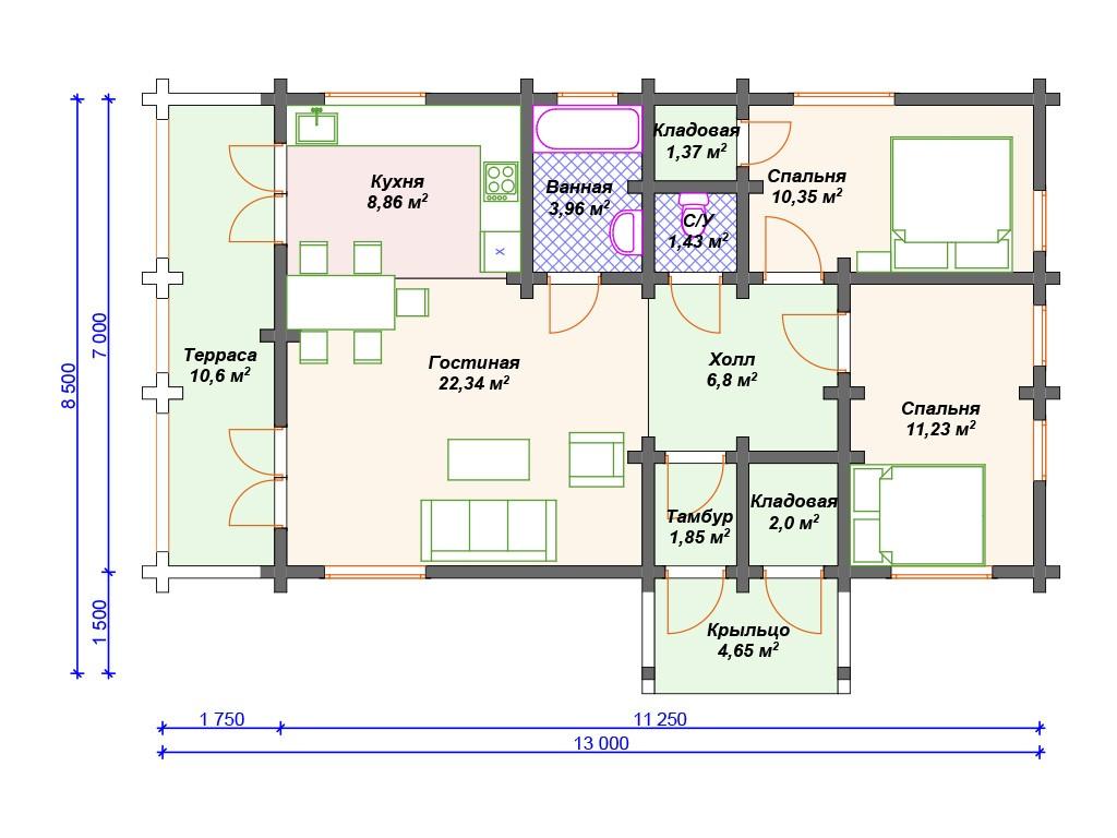Дом из бруса ДС-085 один этаж 85 м2