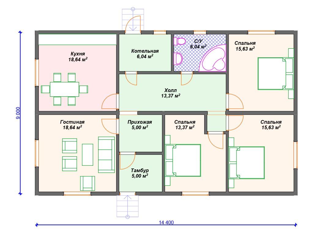 Дом из бруса ДС-076 один этаж 117 м2