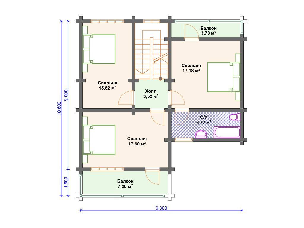 Дом из бруса ДС-122 два этажа 189 м2