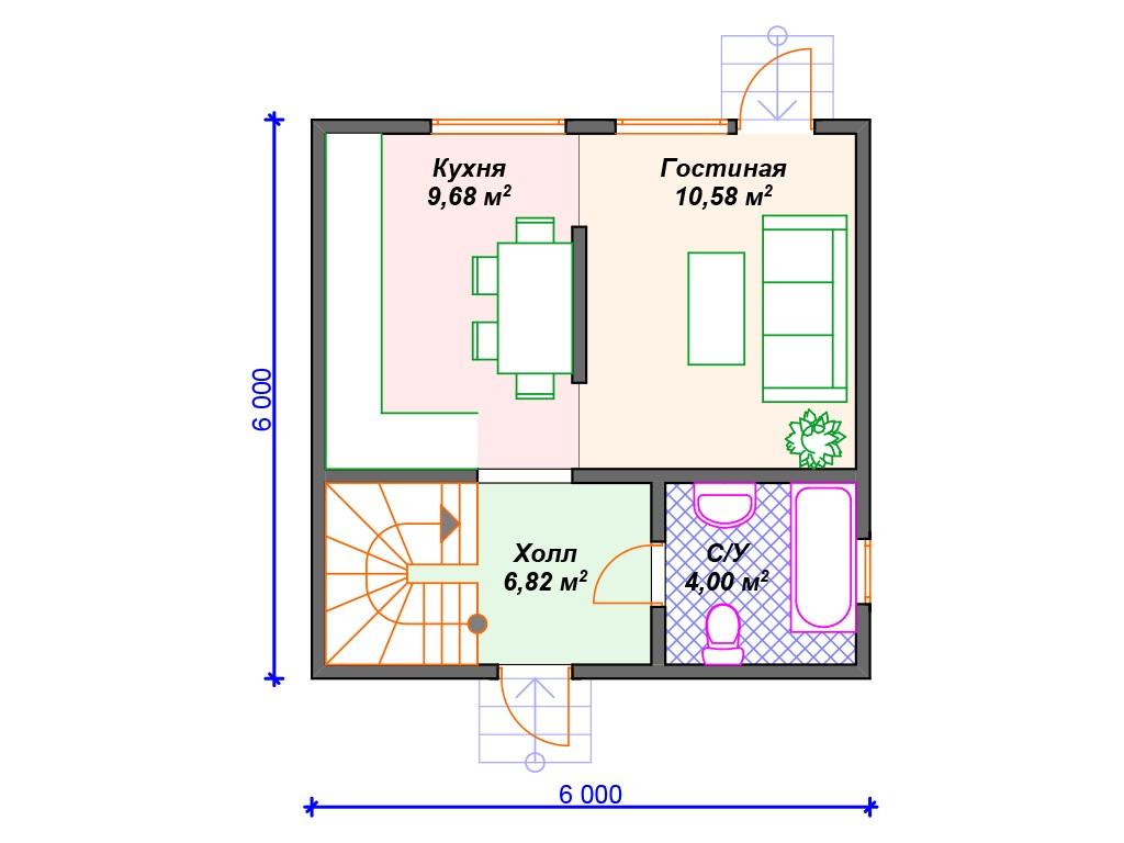 Каркасный дом И-040 два этажа 59 м2