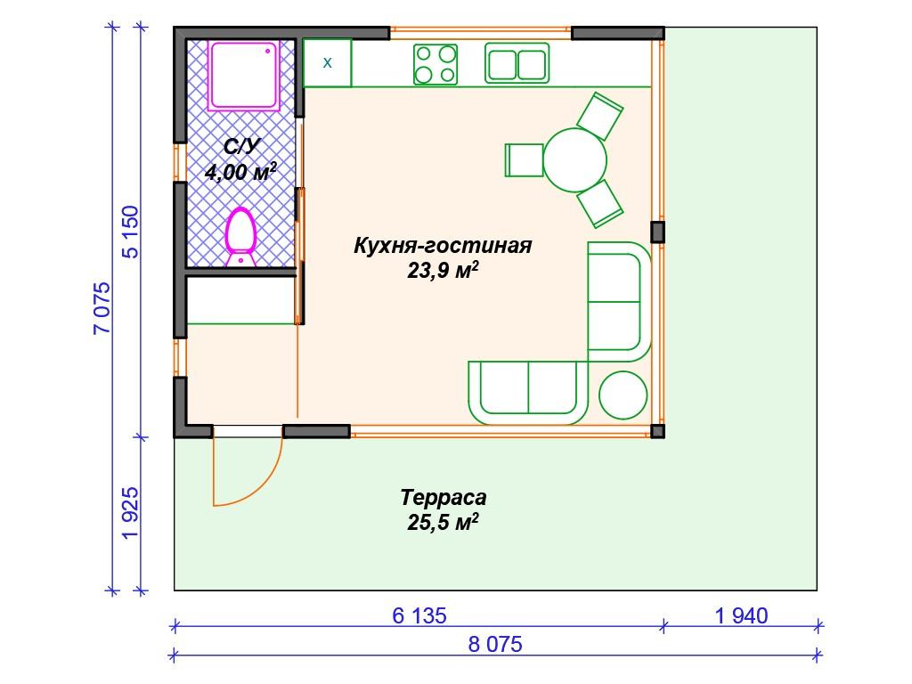 Каркасный дом И-036 один этаж 53 м2