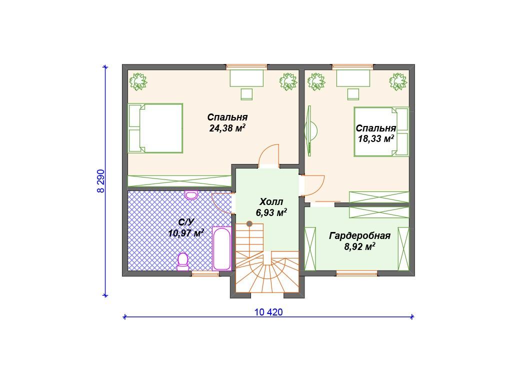 Каркасный дом И-002 два этажа 183 м2