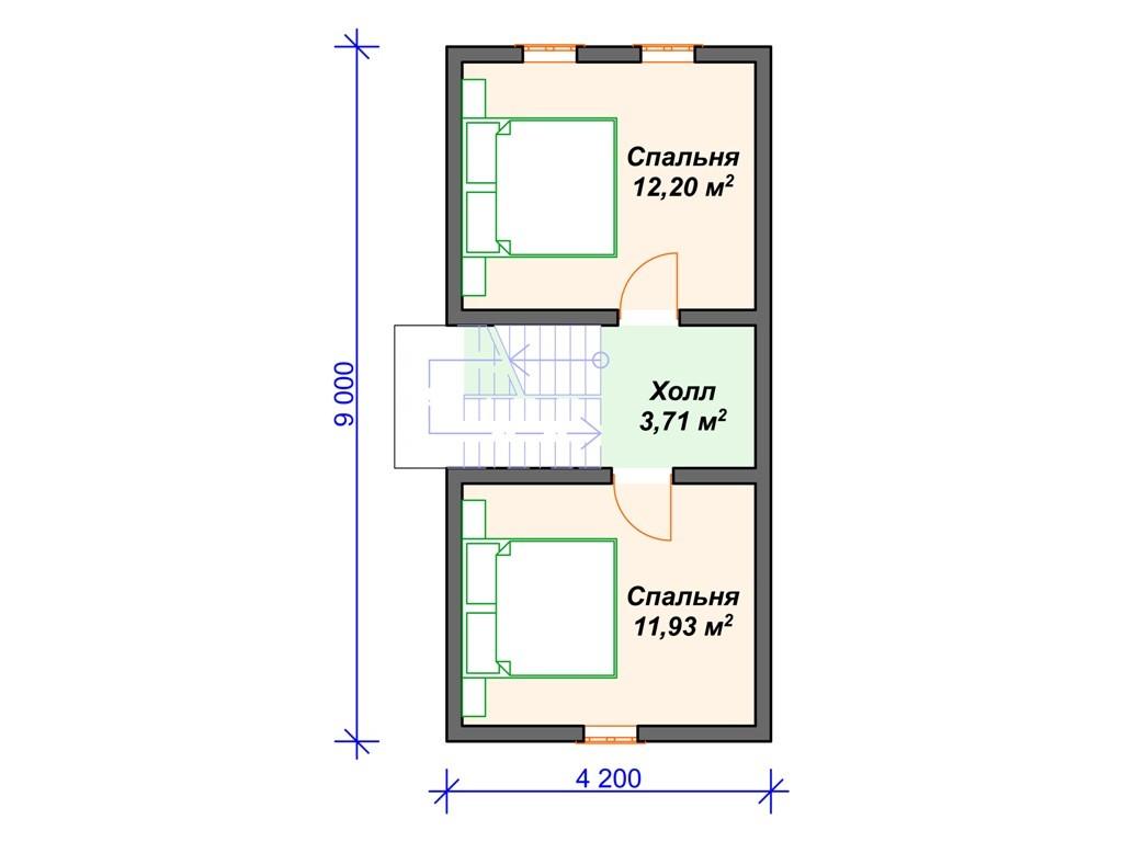 Каркасный дом И-077 два этажа 87 м2