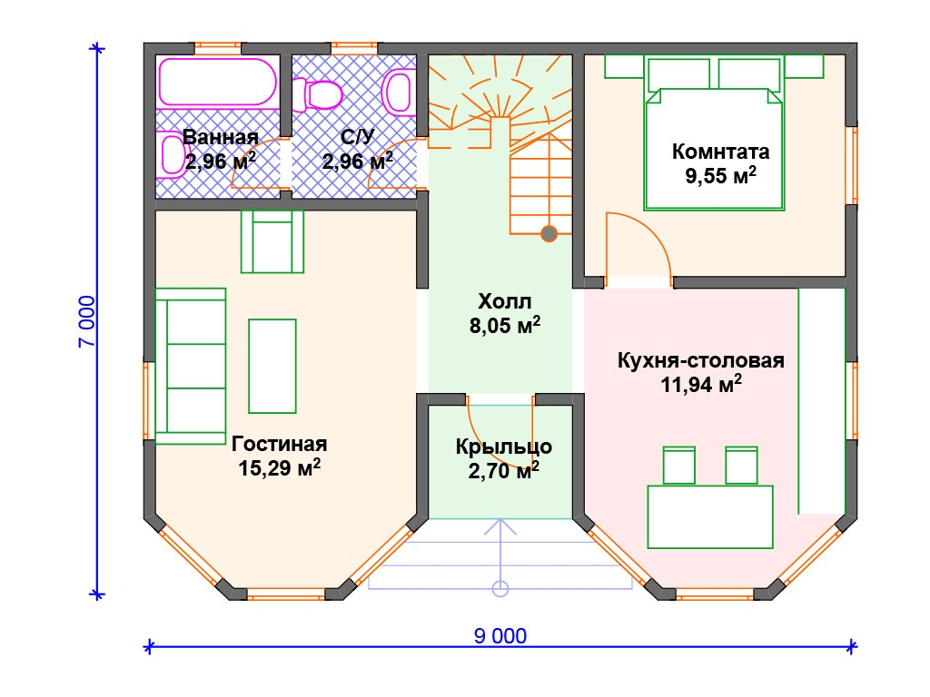 Каркасный дом И-071 два этажа 100 м2