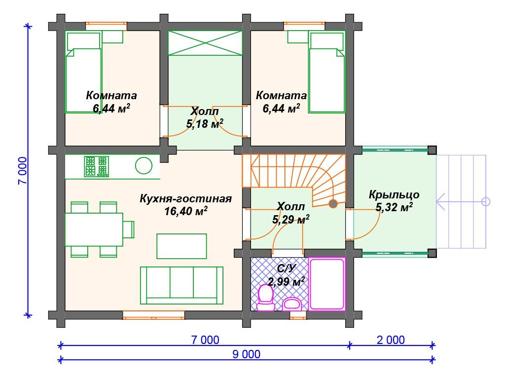 Комбинированный дом А-018 два этажа 89 м2