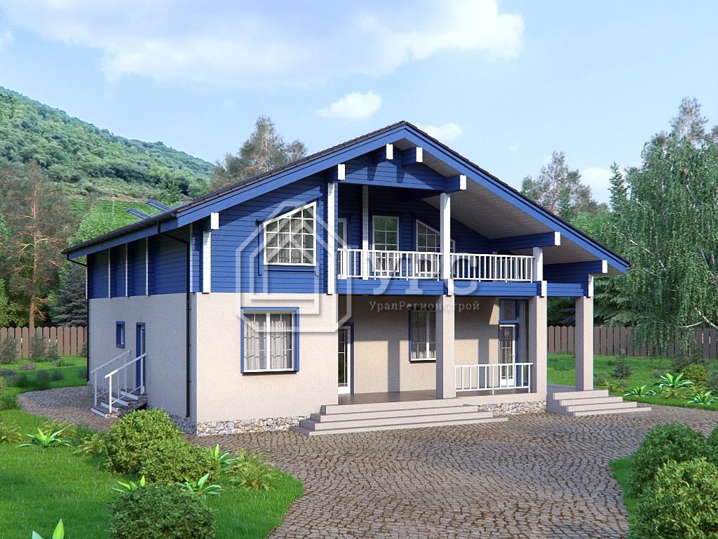 Дом из керамзитобетона А-017 два этажа 265 м2