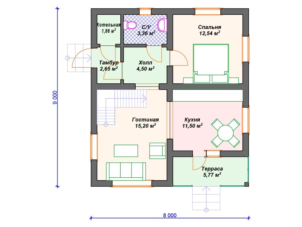 Комбинированный дом А-006 два этажа 116 м2