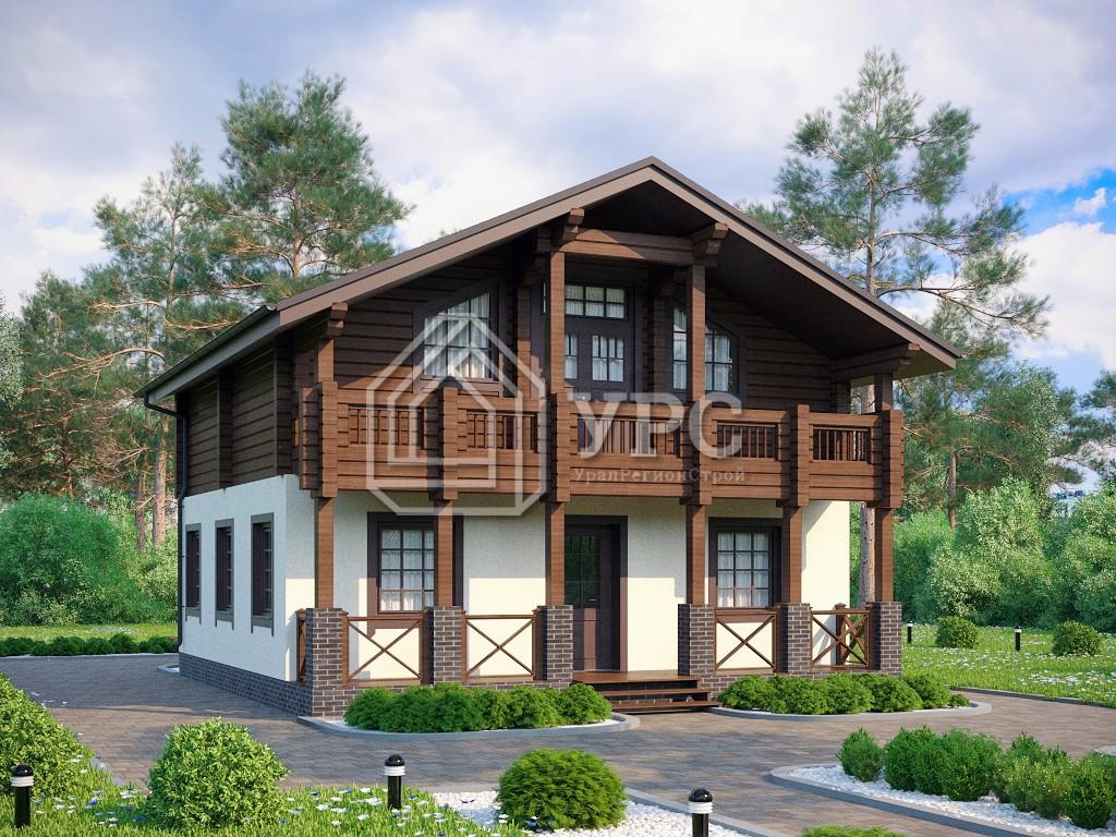 Дом из керамзитобетона А-028 два этажа 132 м2