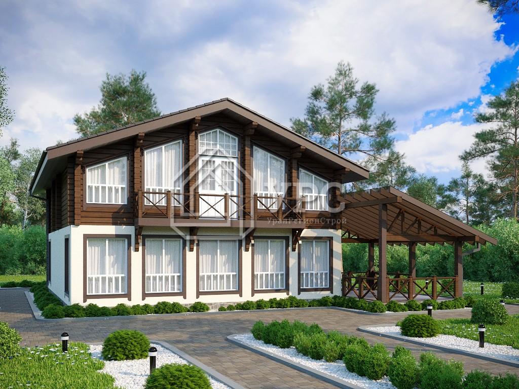 Комбинированный дом А-024 два этажа 235 м2