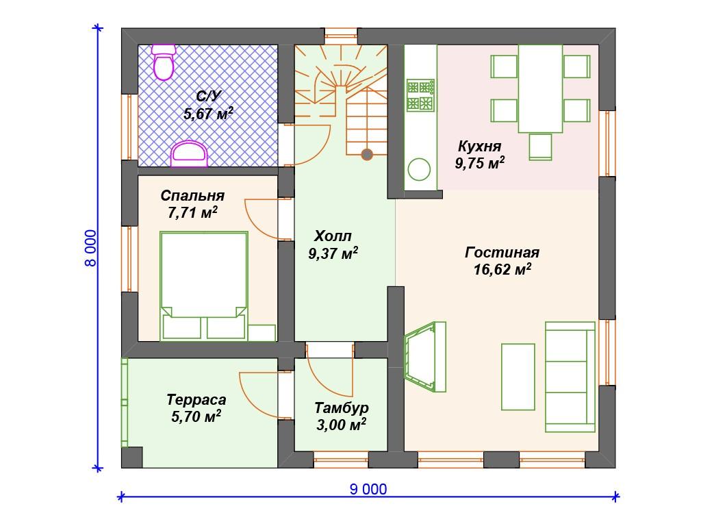 Дом из газоблока К-206