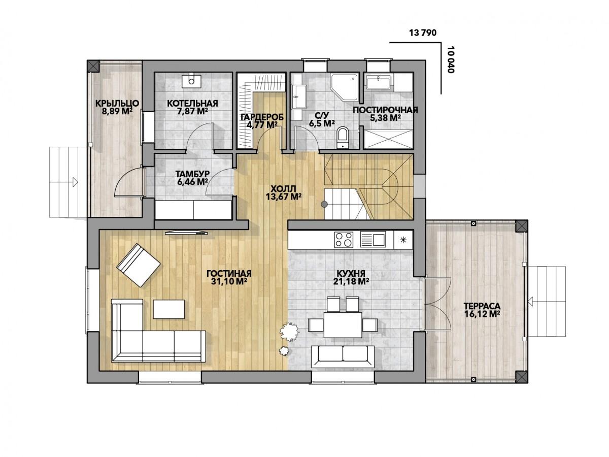Дом из газоблока 10х13 два этажа 260м2