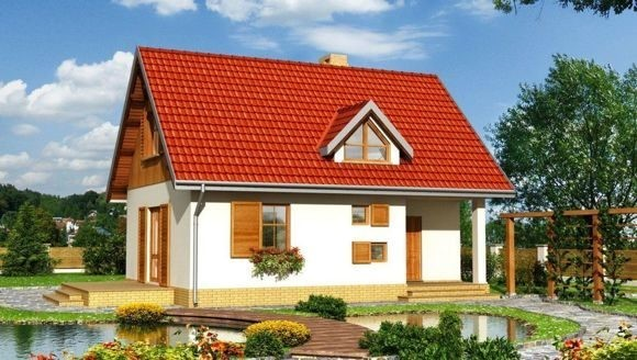 Дом из пеноблока 6х4 с мансардой 48 м2